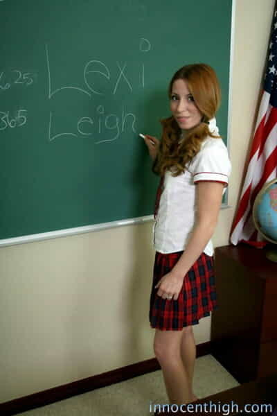 Darling redhead schoolgirl Lexi Leigh flashes her tiny slit in uniform