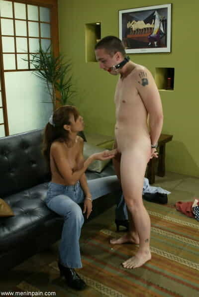 Topless female Shy Love attempts to obtain a cumshot from a small cock loser
