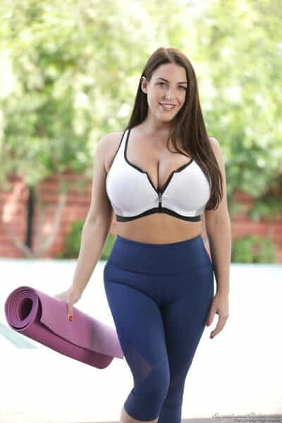 Curvaceous solo angel Angela White unleashes her hangers at the same time as doing yoga