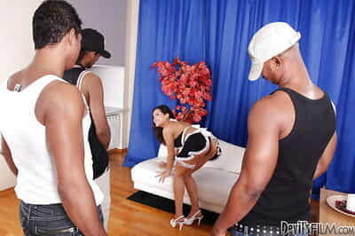 Frisky Asian slut Jasmine F is busted by two huge cocks