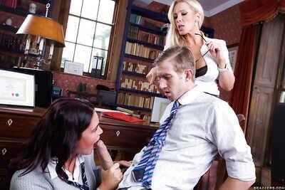 Slutty schoolgirl sucks off the boss ladys other half and swallows his cum