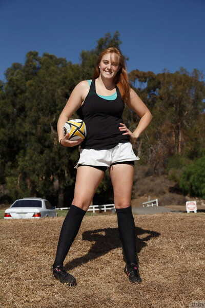 Ginger soccer player Deirdre Collins flashes her booty right after the practice