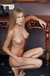 Blonde teenage cutie with perky tits and require legs makes erotic art