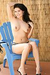 Full-grown example Bailey Devonish posing in nature\'s garb in hot outdoor solo session
