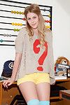 Glamorous golden-haired chick Bailey Helen loves teasing by showing off her round butt