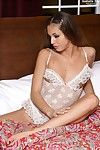 Baring her super hot white lacy underclothes Isabella Sky is ready to packs a glass in her slit