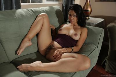 Slim appealing brunette hair Dana Vespoli is getting her clad off and excitingly bending in moist way on the daybed