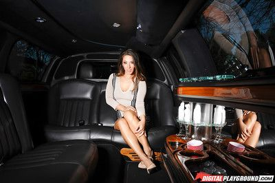 Oriental illustration Eva Lovia jerking off lustful slit in agone seat of limo