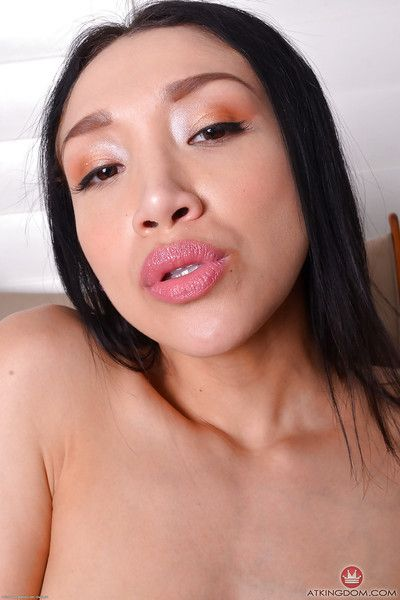 Eastern angel Vicki Go after displaying anal gape during playing with dick