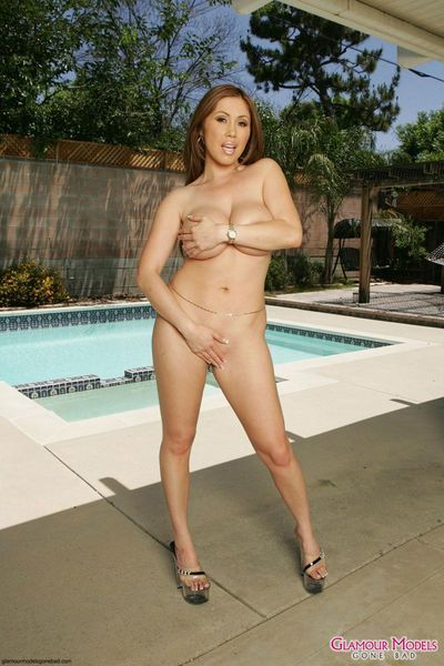 Unconventional milf Kiana Dior with severe bra buddies and cool vagina location without clothes in the backyard