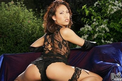 The brown underware of the Chinese milf Mia Smiles sexily wraps her insignificant body