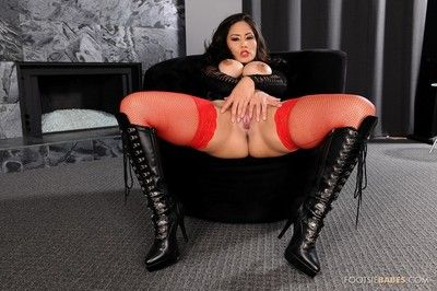 Eastern brown hair doll with hunger after legs Jessica Bangkok acquires dug hardcore in leather and stockings.