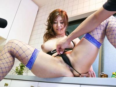 Boobsy Oriental hotty Naho Hadsuki wears sleazy nylons and acquires happy with toys & masturbation