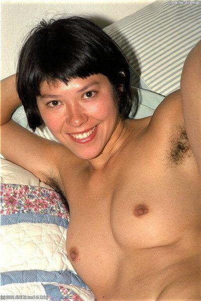 Infant slant-eyed instance Amanda shows hair all over her undressed body