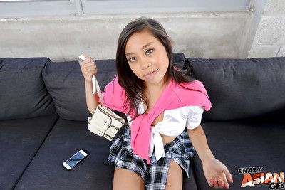 Teen infant actress in schoolgirl uniform Lucy takes fotos and accepts as mother gave birth