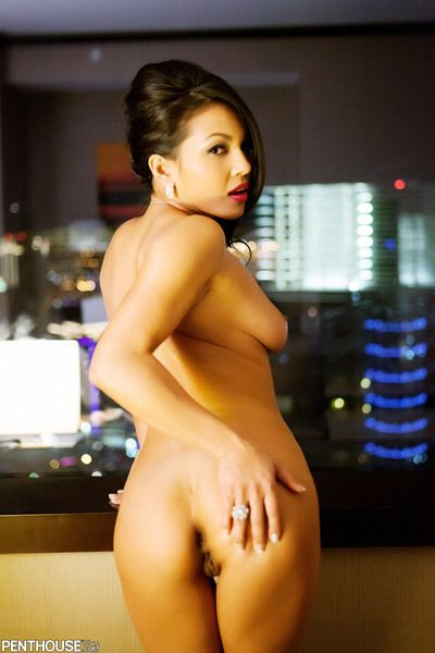 Lascivious Eastern Adriana Luna stretches and shows her faultless apples and bald beaver