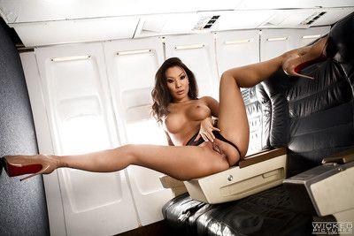 Asian MILF pornstar Asa Akira playing with dick lascivious vagina afterward disrobing