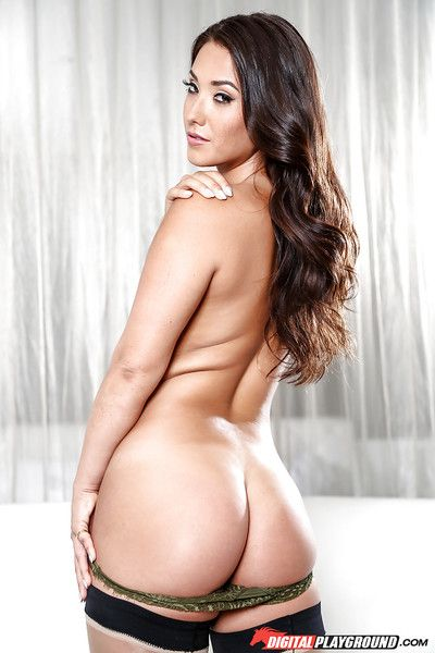 Oriental pornstar Eva Lovia demonstrates her flawless cheeks and legs