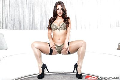 Oriental pornstar Eva Lovia demonstrates her flawless cheeks and legs