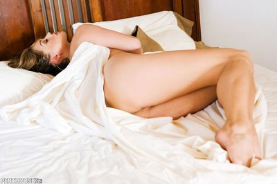 In a sprightly foreplay Valentina Vaughn standing and shows her trimmed pubes even as sliding across bed.
