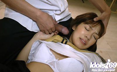 Little Chinese schoolgirl attains strained by appealing fellows to a heavy two men plus one female