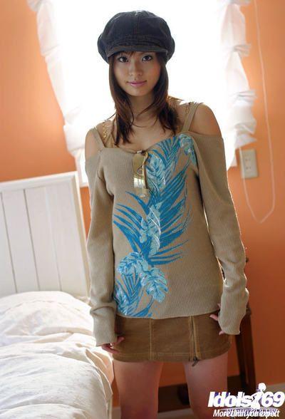 Seductive oriental youthful with undersize apples Hikaru Koto striptease off her garments
