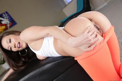 Eastern model Lily Ocean is fooling around teasing with the huge tube arse
