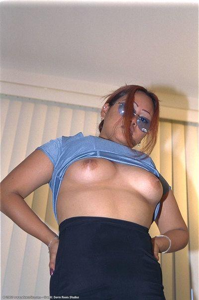 Leggy Oriental principal timer Lisa exposing little bumpers in glasses