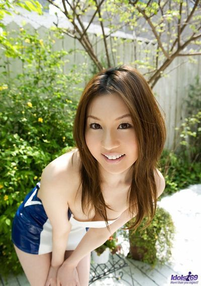 Juvenile green and smoothly gentle hottie Tatsumi Yui is excitingly undressing and hotly posing outdoors uncovered