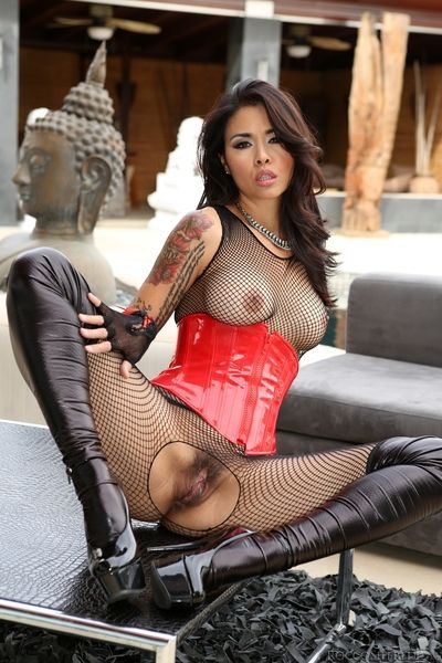 Hawt anus dark brown Oriental in heels and corset Dana Vespoli makes known her skinhead taco