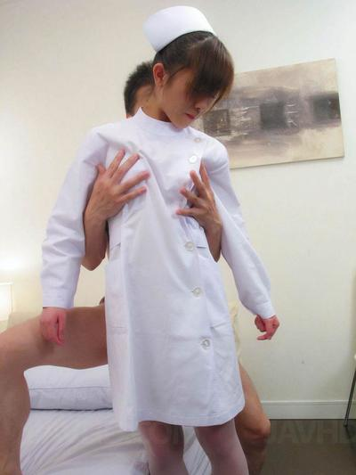 Sexually excited Oriental Miina Minamoto has intense hardcore fucking action and gives dick sucking in a nurses uniform