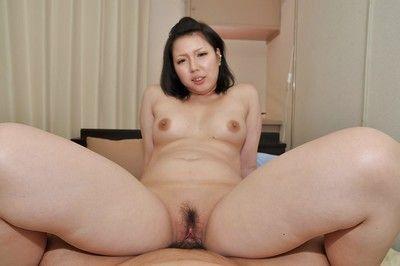 Eastern MILF Aya Uchiyama acquires her shaggy twat pumped and creampied