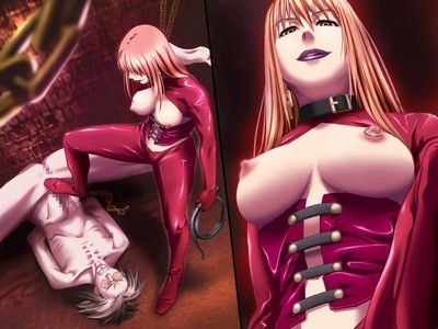 Lascivious agressive prostitute with went in teats humiliates her hentai latex wounded