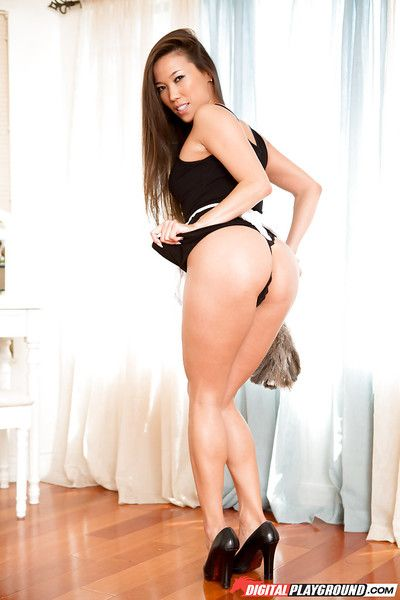 Oriental cutie with diminutive meatballs Kalina Ryu positions in high heels in bedroom