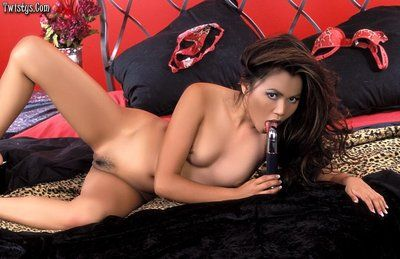Lecherous Chinese Sabrine Maui gets undressed red underclothes and bonks her cage of love by blue dildo.