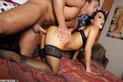 Japanese queen in  Asa Akira takes the dong in plump cum-hole and wraps the rigid with face hole