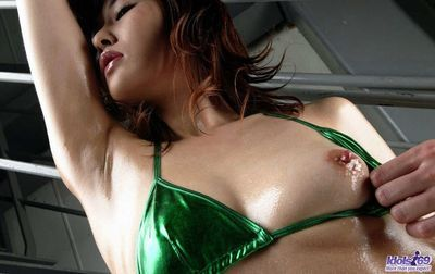 Great infant sweetheart Wakako Hujimori is showing off her elegant body in excitingly clammy standing in new swimsuit