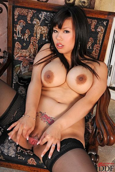 Breasty Japanese pretty with going in on her hairless love tunnel is showing her appetizing anal opening indoors