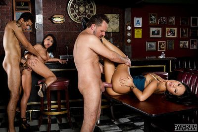 American pornstar Adriana Chechik and Oriental MILF Asa Akira fuck on pool table