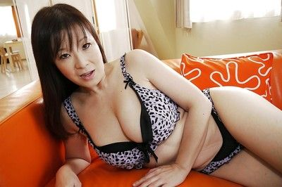 Masae Hamae and her ideal Japanese massive billibongs and muff being nude