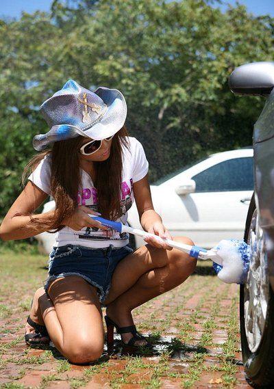 Gorgeous bombita in wild panties Yoko Yoshikawa is washing the car and getting exposed and sexily posing on car