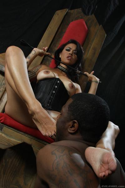 Hawt femdom-goddess Dana Vespoli accepts slammed rough by one of her ebony sub gentlemen