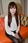 Chinese brunette hair Ayami Nishino displays her overweight rear and furry twat
