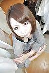 Hardcore oriental brown hair Mari undressing and fingering that twat