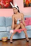Crave haired oriental bunny dear Davon Kim removes her pink c-thru sexy pants