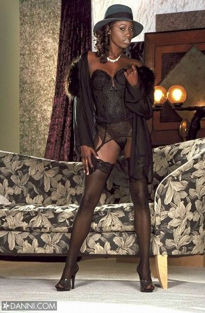 Elegant hyacinthine india wearing sexy black stockings