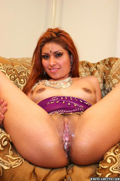 Indian slut sporting creampie after riding cock during interracial groupsex