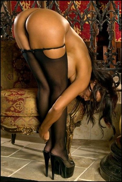 Priya rai strips relating to stiletto heels and stockings