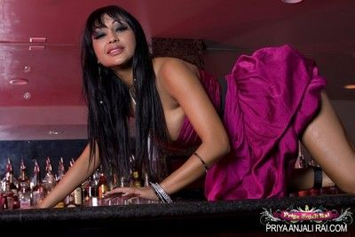Hot and sexy priya anjali rai climbs up on dramatize expunge counter and shows off the brush big catcall