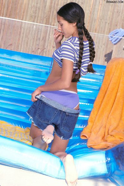 Stunning petite indian hottie less long braided pigtails strips